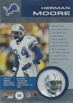 2001 Pacific Invincible #82 Herman Moore Back