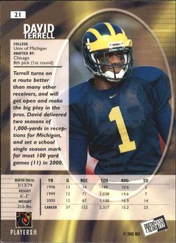 2001 Press Pass SE #21 David Terrell Back