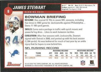 2002 Bowman #8 James Stewart Back