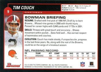 2002 Bowman #9 Tim Couch Back