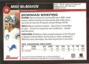 2002 Bowman #25 Mike McMahon Back