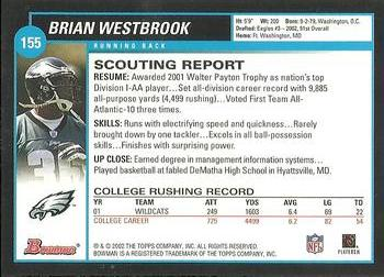 2002 Bowman #155 Brian Westbrook Back