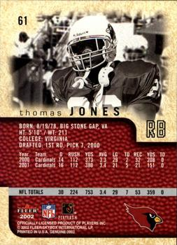 2002 Fleer Genuine #61 Thomas Jones Back