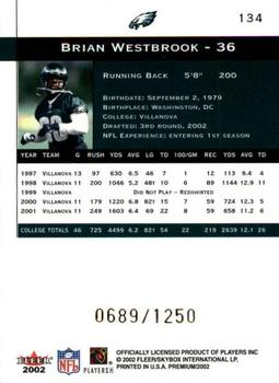 2002 Fleer Premium #134 Brian Westbrook Back