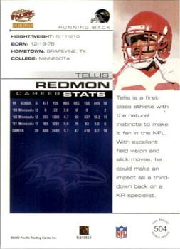 2002 Pacific #504 Tellis Redmon Back