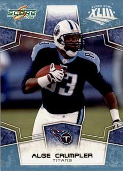 2008 Score - Super Bowl XLIII Light Blue Glossy #318 Alge Crumpler Front