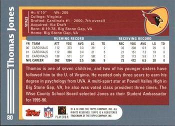 2003 Topps #80 Thomas Jones Back