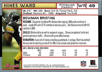 2004 Bowman #49 Hines Ward Back