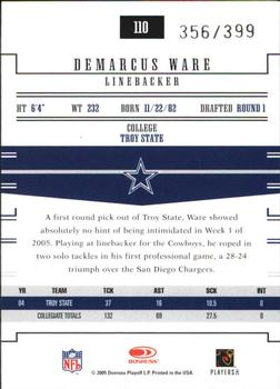 2005 Donruss Gridiron Gear #110 Demarcus Ware Back