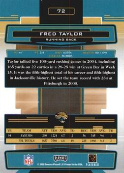 2005 Playoff Absolute Memorabilia #72 Fred Taylor Back