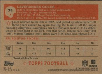 2006 Topps Heritage #74 Laveranues Coles Back