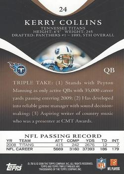 2009 Topps Triple Threads - Gold #24 Kerry Collins Back