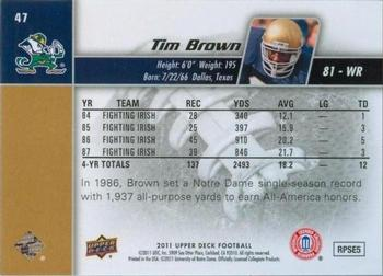 2011 Upper Deck #47 Tim Brown Back