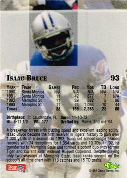 1994 Classic NFL Draft - Gold #93 Isaac Bruce Back