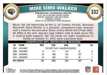 2011 Topps #332 Mike Sims-Walker Back