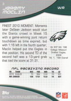2011 Finest #3 Jeremy Maclin Back