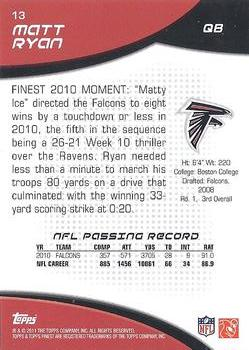 2011 Finest #13 Matt Ryan Back