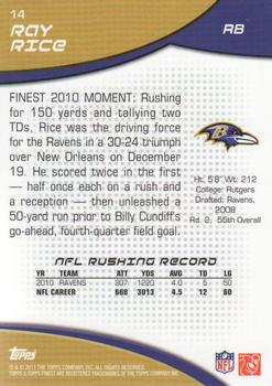 2011 Finest #14 Ray Rice Back