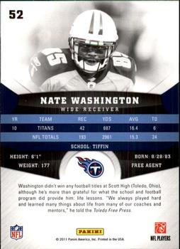 2011 Panini Gridiron Gear #52 Nate Washington Back