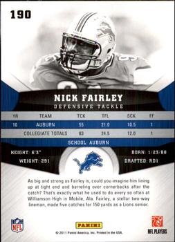 2011 Panini Gridiron Gear #190 Nick Fairley Back