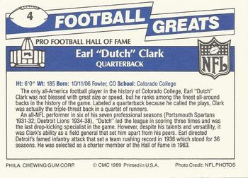 1989 Swell Greats #4 Dutch Clark Back
