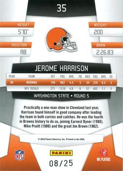 2010 Panini Certified - Mirror Gold #35 Jerome Harrison  Back