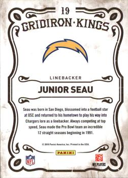 2010 Panini Threads - Gridiron Kings #19 Junior Seau  Back