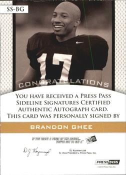 2010 Press Pass PE - Sideline Signatures Gold #SSBG Brandon Ghee  Back