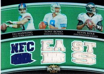 2010 Topps Triple Threads - Relic Combos Emerald #TTRC-6 Eli Manning / Tony Romo / Kevin Kolb  Front