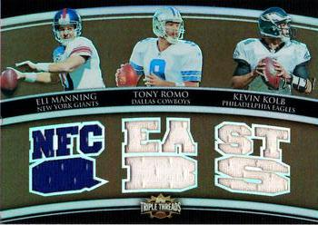 2010 Topps Triple Threads - Relic Combos Sepia #TTRC6 Eli Manning / Tony Romo / Kevin Kolb  Front