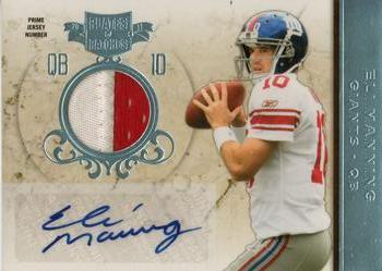 2011 Panini Plates & Patches - Jersey Autographs Prime Jersey Number #10 Eli Manning Front