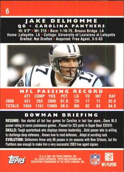 2007 Bowman #6 Jake Delhomme Back