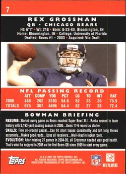 2007 Bowman #7 Rex Grossman Back