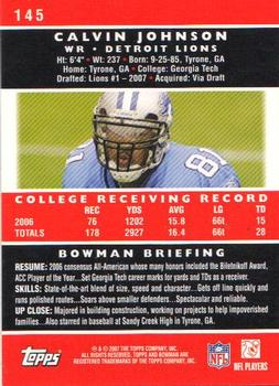 2007 Bowman #145 Calvin Johnson Back