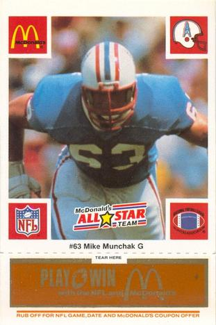 1986 McDonald's All-Stars - Gold Tab #NNO Mike Munchak Front