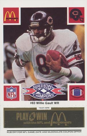1986 McDonald's Bears - Black Tab #NNO Willie Gault Front