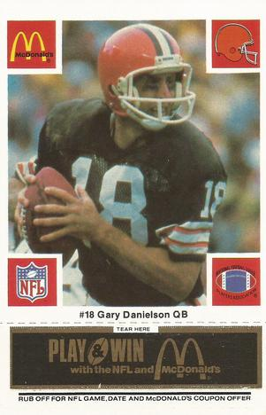 1986 McDonald's Browns - Black Tab #18 Gary Danielson Front