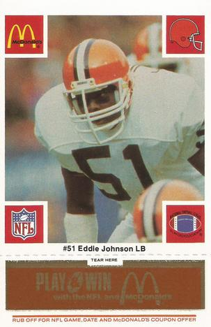 1986 McDonald's Cleveland Browns - Full Game Pieces - Week 3 Gold/Orange Tab #NNO Eddie Johnson Front