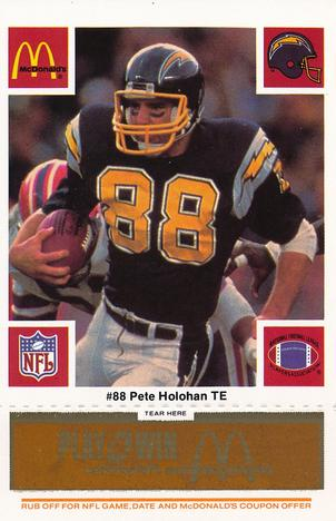 1986 McDonald's Chargers - Gold Tab #88 Pete Holohan Front