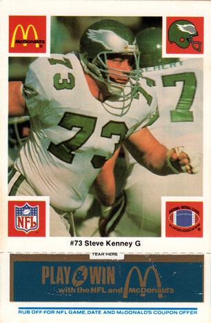 1986 McDonald's Eagles - Blue Tab #73 Steve Kenney Front