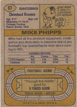 1974 Topps Parker Brothers Pro Draft #87 Mike Phipps Back