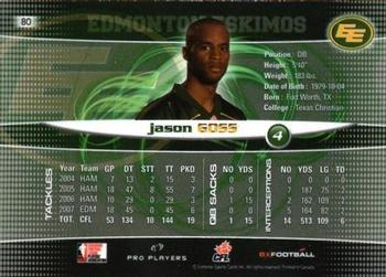 2008 Extreme Sports CFL #80 Jason Goss Back