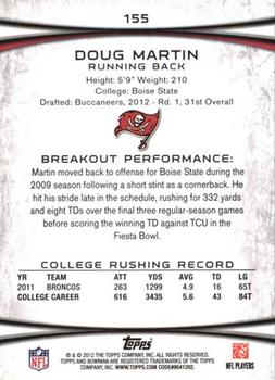 2012 Bowman - Gold #155 Doug Martin Back