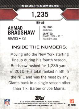 2012 Bowman - Inside the Numbers #ITN-AB Ahmad Bradshaw Back
