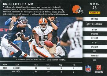 2012 Panini Gridiron - Gold O's #46 Greg Little Back
