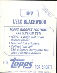 1983 Topps Stickers #97 Lyle Blackwood Back