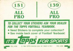 1984 Topps Stickers #139 Chip Banks/Mike Kenn Back