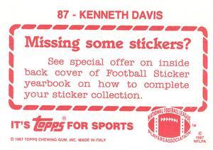 1987 Topps Stickers #87 Kenneth Davis Back
