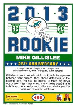 2013 Score - Red #408 Mike Gillislee Back