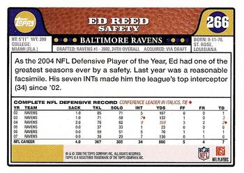 2008 Topps #266 Ed Reed Back